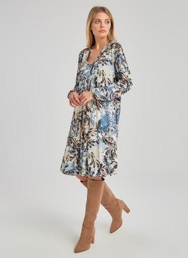 People By Fabrika V Yakalı Desenli Elbise Renkli